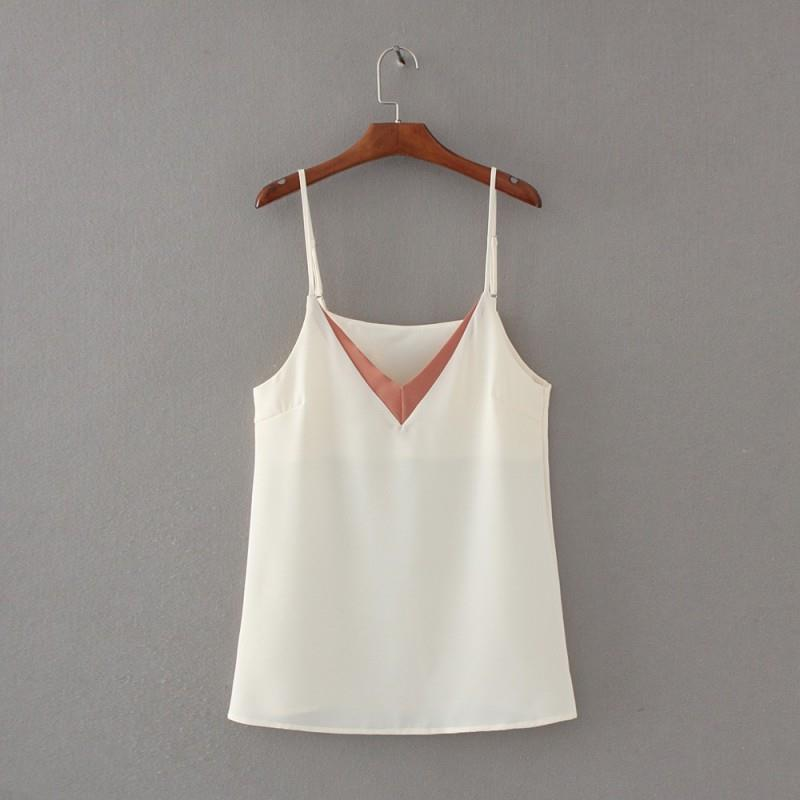 My Stuff, Oversized Sweet Solid Color Slimming V-neck Sleeveless Summer Sleeveless Top Strappy Top T