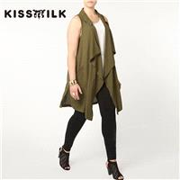 Plus Size women's clothing autumn outfit Sleeveless jacket and long sections fashion irregular loose