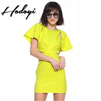 Vogue Ruffle Slimming Butterfly Sleeves Sheath Summer Dress - Bonny YZOZO Boutique Store