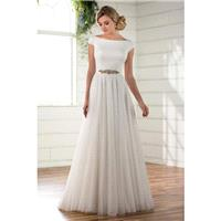 Plus-Size Dresses Style D2304 by Essense of Australia - Ivory  White Crepe  Tulle Belt  Low Back Flo