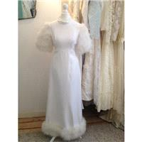 Maribella - True Vintage Wedding Dress White/Ivory Cotton Drill and Glamorous Feather Detailing - Ha