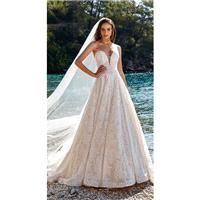 Eddy K. 2019 Sweet Chapel Train Ivory Aline Sweetheart Sleeveless Lace Covered Button Spring Outdoor