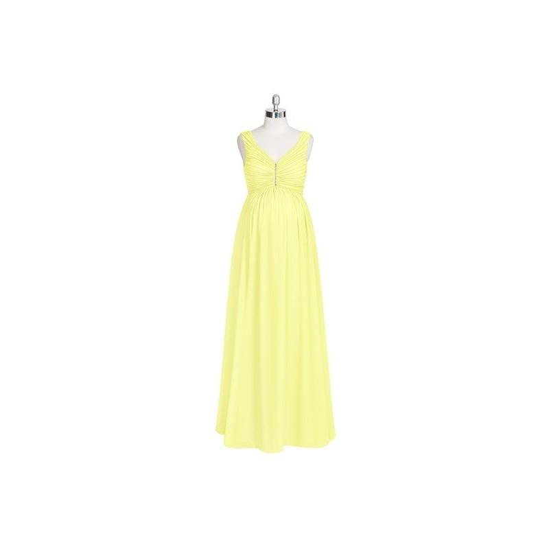 My Stuff, Daffodil Azazie Madison - V Neck Chiffon Back Zip Stretch Knit Floor Length Dress - Simple