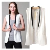 Contrast Color Slimming V-neck Sleeveless Cotton Sleeveless Top Vest Suit - Lafannie Fashion Shop