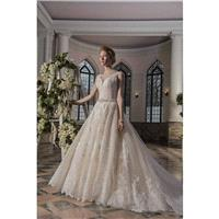 Ivy by  Bridals - Ivory  White  Champagne Lace Illusion back Floor Plunge  Straps  V-Neck Ballgown W