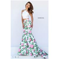 Ivory/Pink Print Sherri Hill 50398 - 2-piece Mermaid Lace Dress - Customize Your Prom Dress