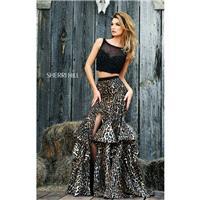 Black/Leopard Sherri Hill 32223 - Mermaid Dress - Customize Your Prom Dress