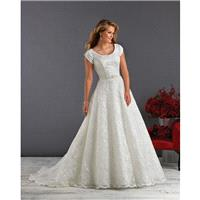 Bonny Love 6420 Modest Floral Tulle A-Line Wedding Dress - Crazy Sale Bridal Dresses|Special Wedding