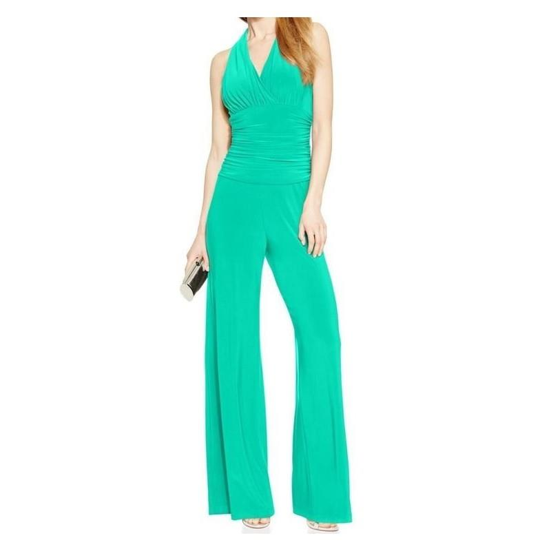 My Stuff, Nine West - 10571878-X53 Halter Ruched Empire Jumpsuit - Designer Party Dress & Formal Gow