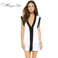 New black and white mosaic color skirt deep v neck sleeveless Turtleneck dresses, sexy women - Bonny