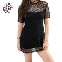 Fall 2017 women new style fashion sexy see through lace blouse solid color dress - Bonny YZOZO Bouti