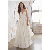 Morilee by Madeline Gardner/Blu 5512 - A-Line Sweetheart Dropped Floor Chapel Chiffon Lace - Formal