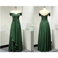 Off the Shoulder Short Sleeves Sweetheart Chiffon Dark Green Long Bridesmaid Dress with Handmade Flo