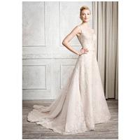 Kenneth Winston 1665 - A-Line Illusion Natural Floor Semi-Cathedral Lace Embroidery - Formal Bridesm
