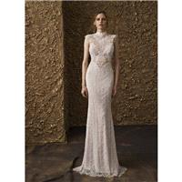 Nurit Hen 2018 GT 11 Ivory Fit & Flare Cap Sleeves Sweep Train Elegant High Neck Zipper Up Lace Bead