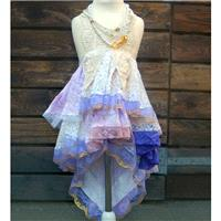 Girls size 5-6. Pink purple beige bohemian flower girl. Mori Girl dress with loads of lace. Rustic f