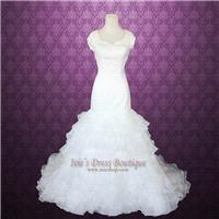 Modest short sleeves Fit and flare Organza Ruffles Wedding Dress - Hand-made Beautiful Dresses|Uniqu