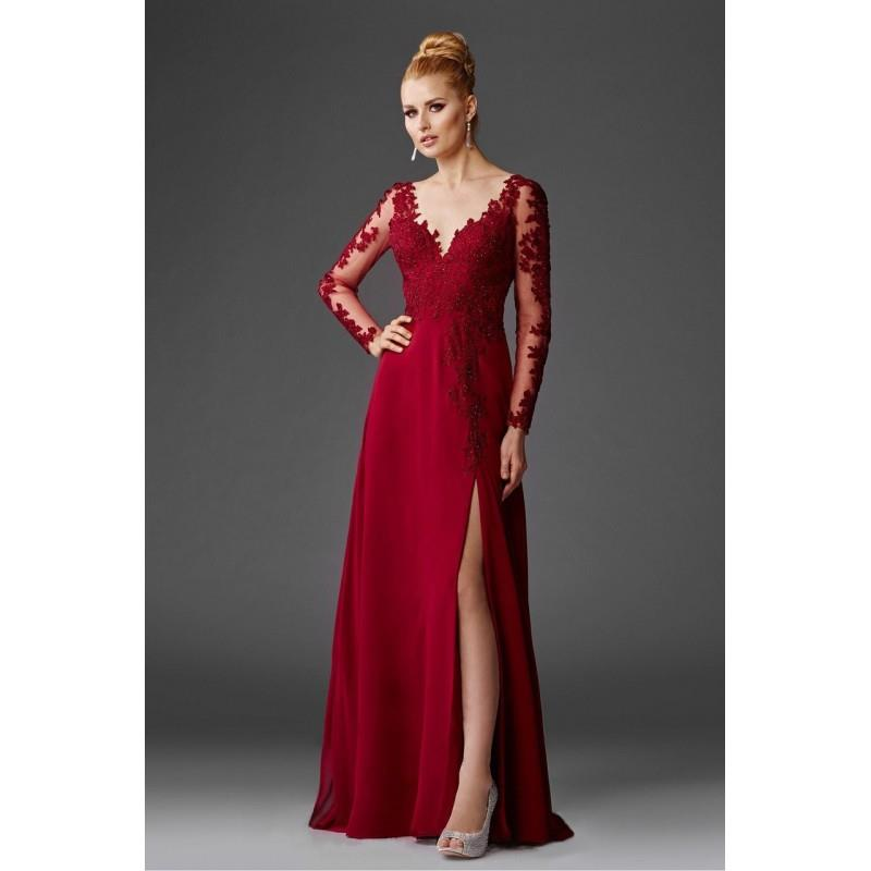 My Stuff, Clarisse - M6429 Long Sleeved Lace Applique Gown - Designer Party Dress & Formal Gown