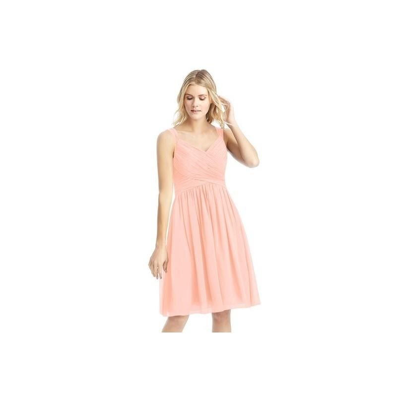 My Stuff, Coral Azazie Mikaela - V Neck Chiffon Bow/Tie Back Knee Length Dress - Simple Bridesmaid D