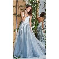 Papilio 2018 Blue Sweet Ball Gown Illusion Sleeveless Chapel Train Covered Button Flowers Tulle Brid