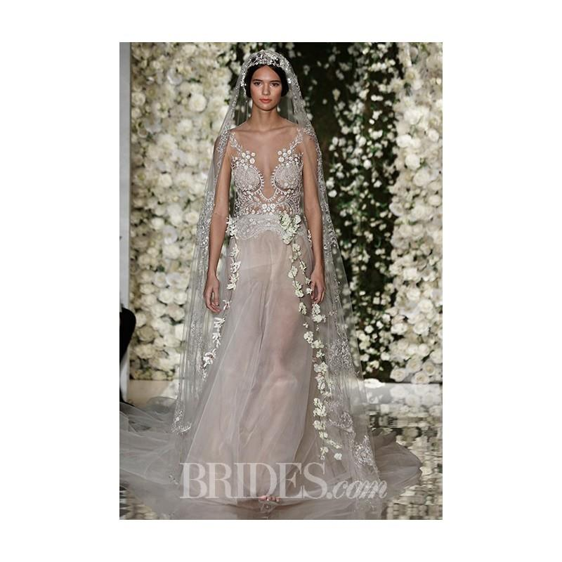 My Stuff, Reem Acra - Fall 2015 - Embroidered Illusion Nude Tulle Ballgown Wedding Dress - Stunning