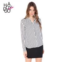 Office Wear Attractive Slimming Horizontal Stripped Fall 9/10 Sleeves Blouse - Bonny YZOZO Boutique