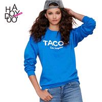 TACOS letters print Sweatshirt loose boyfriend style ribbed crewneck Turtleneck Sweater - Bonny YZOZ