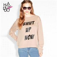 Ladies fall 2017 new stylish letters printed crew neck long sleeve sweater - Bonny YZOZO Boutique St