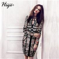 Sexy Vintage Printed Hollow Out Slimming Scoop Neck Long Sleeves Fall Dress - Bonny YZOZO Boutique S