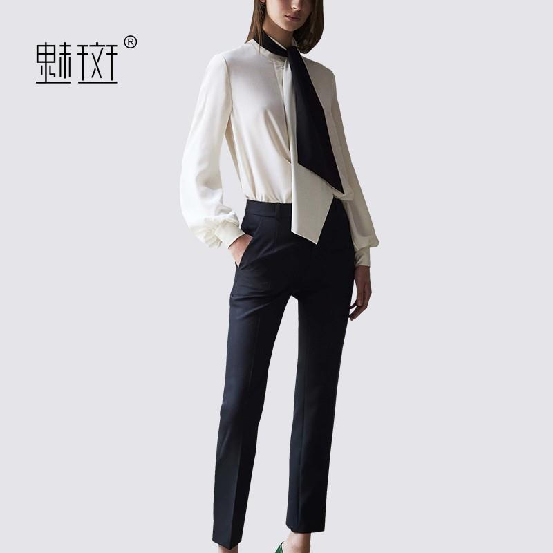 My Stuff, Office Wear Long Sleeves Silk Summer Outfit Twinset Top Casual Trouser - Bonny YZOZO Bouti