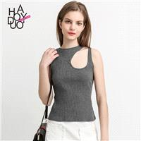 Vogue Sexy Simple Hollow Out Slimming One Color Spring Sleeveless Top - Bonny YZOZO Boutique Store