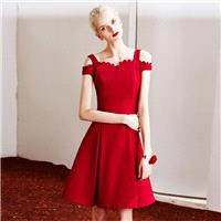 Elegant Vintage A-line Bateau Off-the-Shoulder Wave Petals Lace Strappy Top Dress - Bonny YZOZO Bout