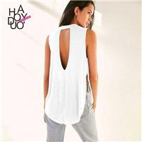 Sexy Split Open Back Ruffle Sleeveless Crossed Straps One Color Summer T-shirt - Bonny YZOZO Boutiqu