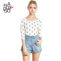 Vogue Printed Slimming Scoop Neck 3/4 Sleeves Polka Dot Fall T-shirt - Bonny YZOZO Boutique Store