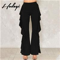 Must-have Vogue Draped One Color Summer Frilled Casual Trouser - Bonny YZOZO Boutique Store