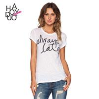 Vogue Simple Printed Scoop Neck Alphabet Summer Short Sleeves T-shirt - Bonny YZOZO Boutique Store