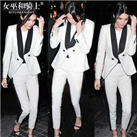 Office Wear Vogue Contrast Color Twinset Suit Coat Skinny Jean - Bonny YZOZO Boutique Store