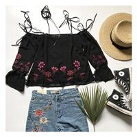 Sweet Embroidery Bow Bateau Off-the-Shoulder Floral Black Top Chiffon Top - Bonny YZOZO Boutique Sto