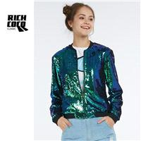 Must-have Casual Vogue Slimming Long Sleeves Sequined Fall Top Coat Baseball Jacket - Bonny YZOZO Bo