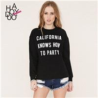 Must-have Street Style Vogue Printed Long Sleeves Alphabet T-shirt Hoodie - Bonny YZOZO Boutique Sto