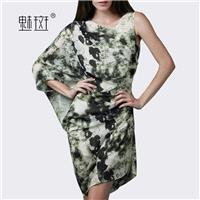 Summer sleeveless round neck slim irregular hip print long pleated chiffon dress - Bonny YZOZO Bouti