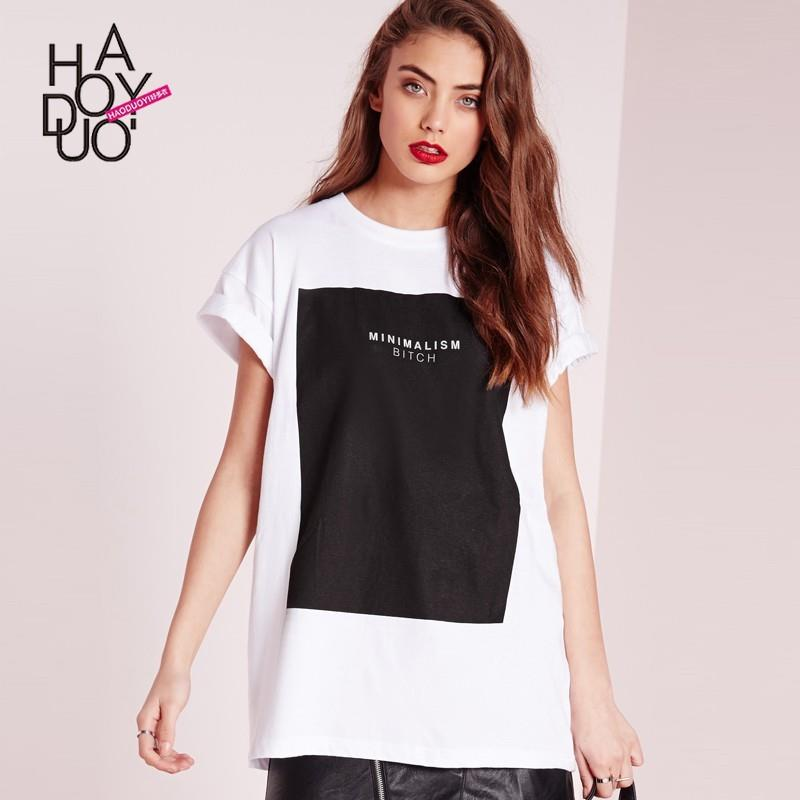 My Stuff, Boyfriend Oversized Vogue Printed Alphabet Summer T-shirt - Bonny YZOZO Boutique Store