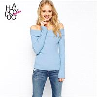 Vogue Sexy Simple Slimming Bateau Jersey One Color Fall Sweater - Bonny YZOZO Boutique Store