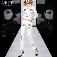 2017 new prints for fall/winter white stretch denim clothes ripped jeans pants casual suit women - B