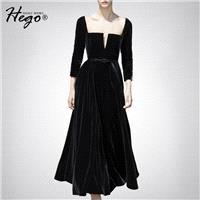 Vintage Attractive Slimming V-neck High Waisted It Girl Velvet Dress - Bonny YZOZO Boutique Store