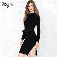 Elegant Split Attractive Slimming It Girl Spring Tie 9/10 Sleeves Dress - Bonny YZOZO Boutique Store