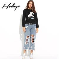 Vogue Sport Style Printed Cartoon Alphabet Summer 9/10 Sleeves Hoodie - Bonny YZOZO Boutique Store