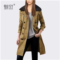 Plus size women's clothing new quality lambs wool long coat female 2017 autumn jacket windbreaker -