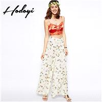 Oversized Vogue Simple Printed High Waisted Chiffon Floral Vegetation Fall Casual Wide Leg Pant - Bo