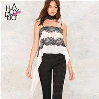 Vogue Open Back Split Front Chiffon Lace Lace Up Summer Strappy Top - Bonny YZOZO Boutique Store